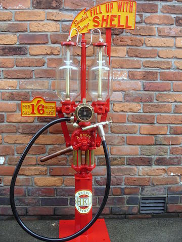 A rare 5 Litre twin-cylinder 'visible petrol system' hand-operated pump by A. Bodin, French,