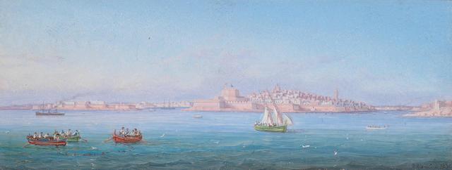 Girolamo Gianni (Italian, 1837-1895) Valletta Harbour, Malta