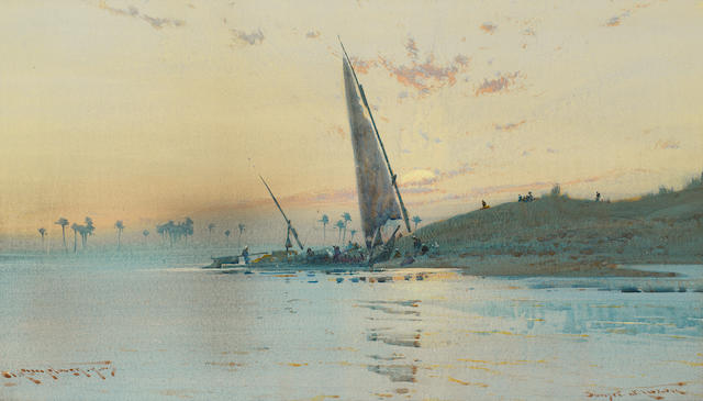 Augustus Osborne Lamplough, A.R.A., R.W.S (British, 1877-1930) 'Sunset, Nr Luxor'; 'In the Desert', a pair.
