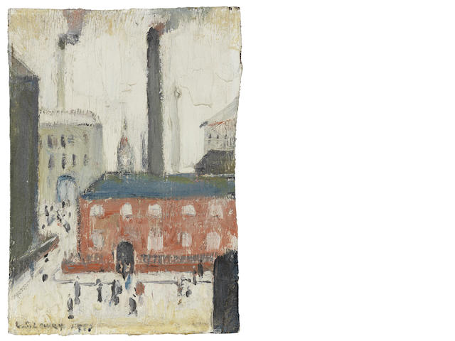 Laurence Stephen Lowry R.A. (British, 1887-1976) Industrial scene with figures 15.2 x 11 cm. (6 x 4 3/8 in.)