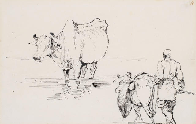 George Chinnery RHA (British, 1774-1852) Study of cattle and a cart; Study of cattle and a drover. (2)