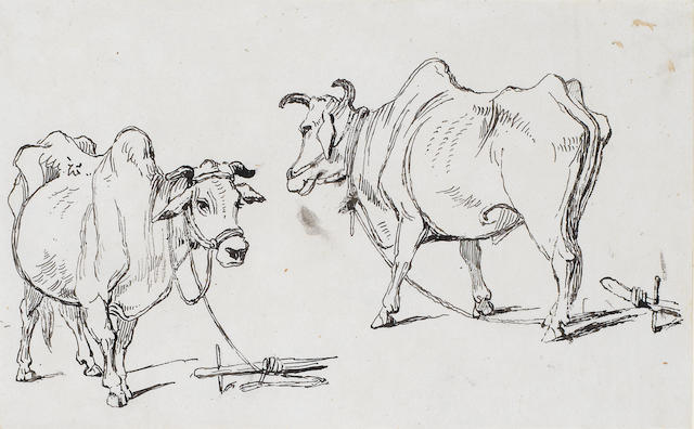 George Chinnery RHA (British, 1774-1852) Study of a village in India; Study of cattle; Two studies of goats (mounted as one). (3)