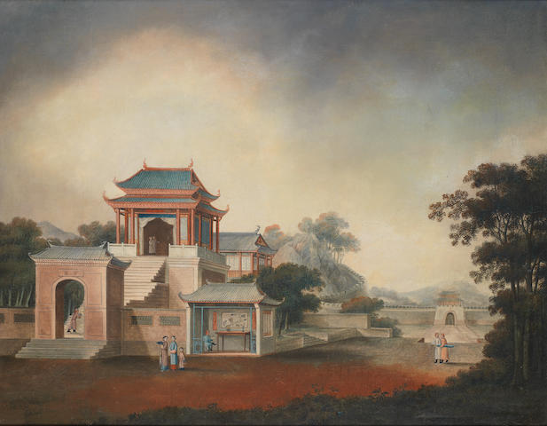 Chinese School, 19th Century Figures outside a temple