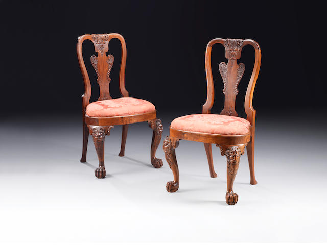 A pair of George II Anglo-Chinese Huang Huali side chairs