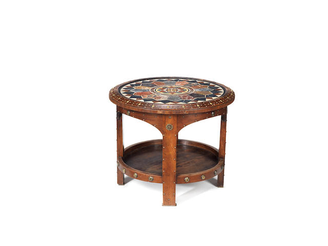An Italian 19th century specimen marble and pietre dure circular occasional table