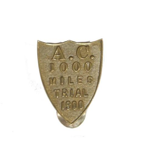 A rare Automobile Club 1000 Mile Trial lapel badge, 1900,