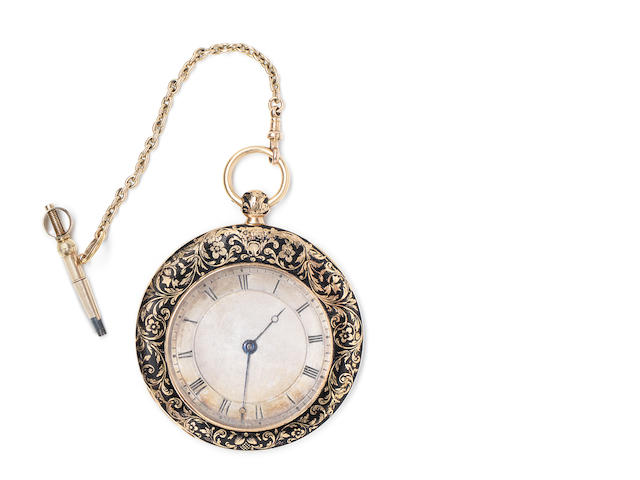 Bautte. A gold and enamel open face key wind pocket watch owned by the botanist George Bentham and given in memoriam to his Godson Joseph Symonds Hooker, son of Joseph Hooker