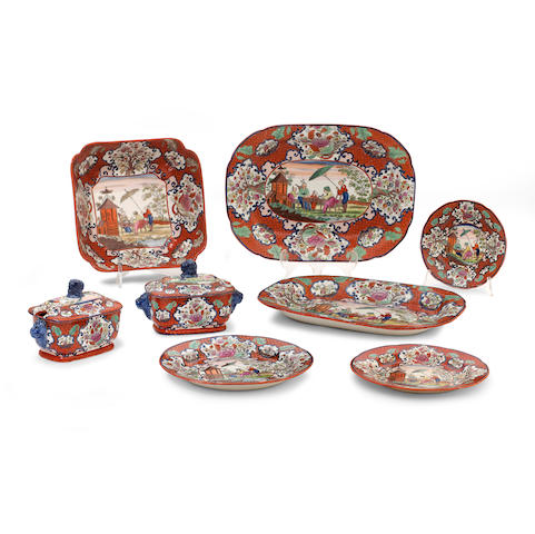 A pearlware polychrome decorated part dinner set Early 19th century
