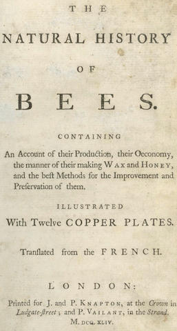 BEEKEEPING [BAZIN (GILLES AUGUSTIN)] The Natural History of Bees ... Translated From the French, 1744