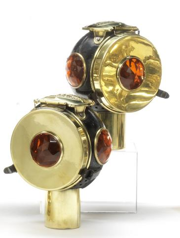 A pair of Phares Besnard 'Les Vestales' electric tail-lamps, circa 1910,