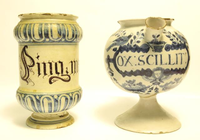 A London or Bristol delft wet drug jar and an Italian albarello Early 18th century