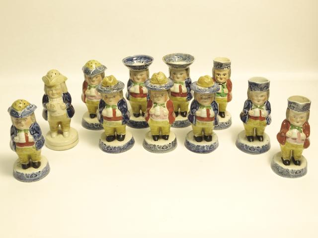 A collection of various Staffordshire Toby condiments Late 19th century