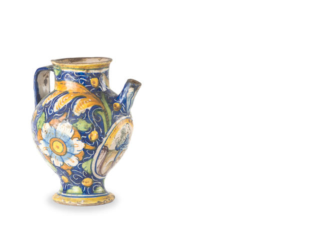 An Italian maiolica wet drug jar  possibly Venetian, 17th century