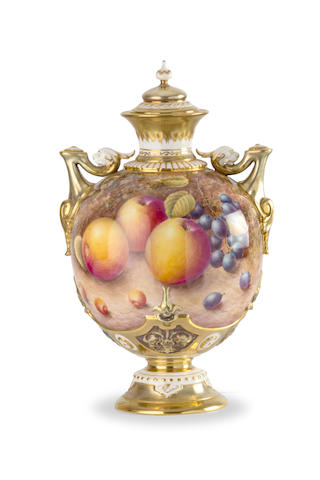 A Royal Worcester vase and cover by N. Creed  circa 1960