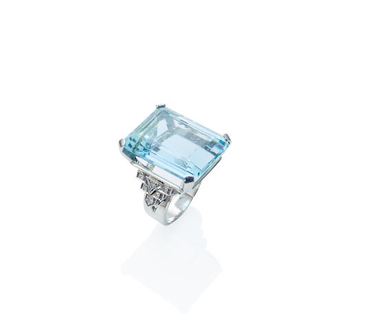 An aquamarine and diamond cocktail ring