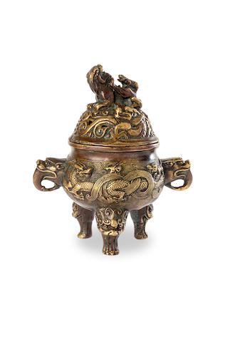 A small Chinese gilded bronze tripod 'dragon' censer Qianlong four-character embossed mark, early to mid 20th century