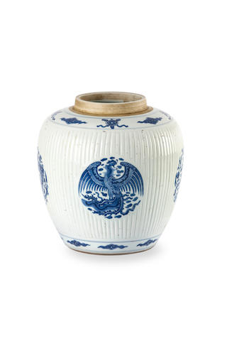 A Chinese blue-and-white ribbed jar