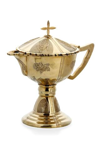An Australian silver gilt ecclesiastical ewer  by James Steeth & Son, Melbourne, early 20th Century