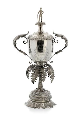 """The Hannell Cricket Challenge Cup"" an Australian silver two handled lidded cup   by Evan Jones, Sydney, circa 1880 EVAN JONES/SYDNEY"