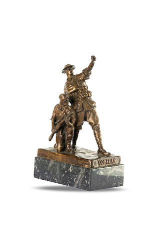 'Cobbers' A titled bronze figure group of two World War I Australian infantrymen