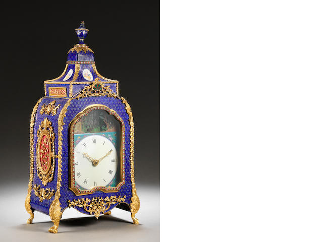 A very fine Canton enamel and gilt 'Imperial-tribute' pavilion clock Mid Qing dynasty