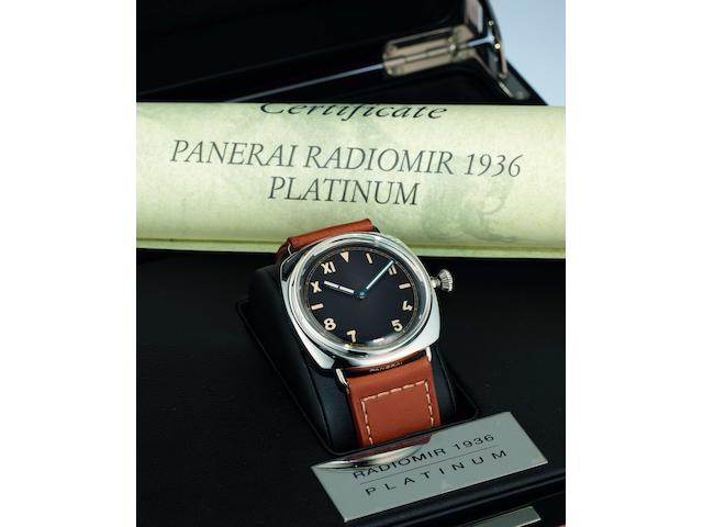 Officine Panerai. A fine and rare limited edition platinum manual wind wristwatchRadiomir 1936, Ref:PAM 262 California Dial, Case No.BB 1218512, Movement No.497989, Limited edition 18/99, Sold in May 2007