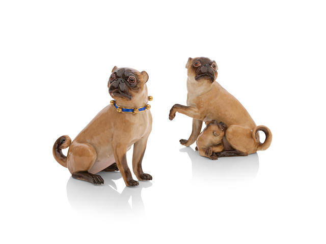 Two Meissen style figures of pug dogs Circa 1900