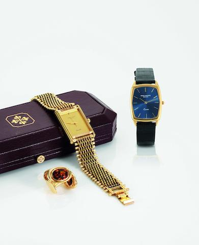 Patek Philippe. A pair of fine and rare 18ct gold and citrine cufflinksCirca 1980