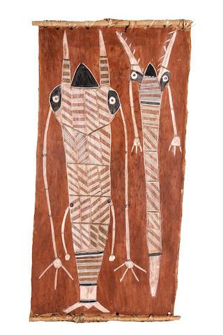 George Merwulunulu Djaykurrnga (circa 1930-1987) Yirridjdja Moiety Mardayin Carvings