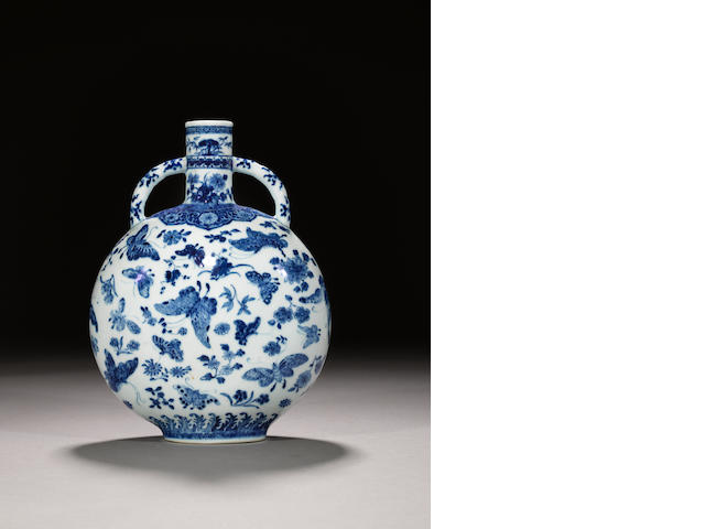 A fine and rare blue and white 'thousand butterflies' moonflask, bianhu Qianlong