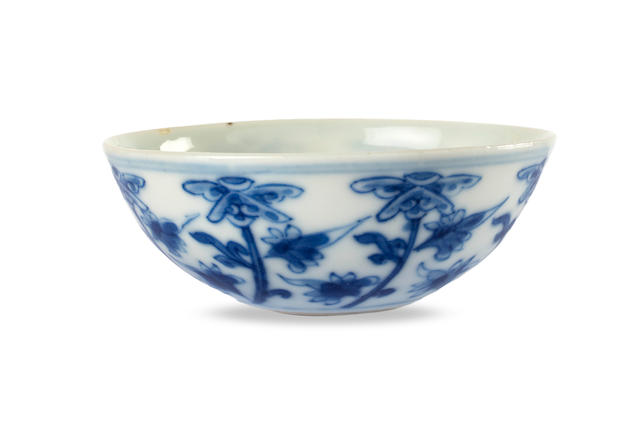 A small Chinese blue-and-white wine cup Xuantong eight-character studio mark and of the period, 1910