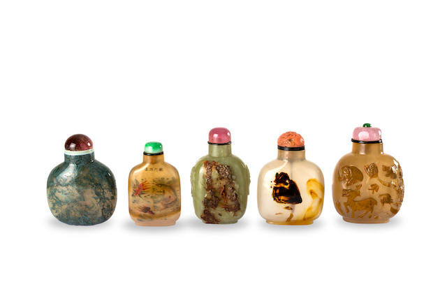 A group of five Chinese snuff bottles Early to mid-20th century