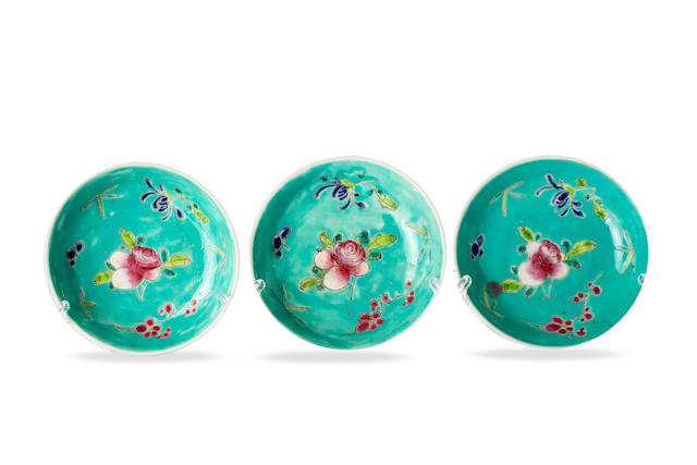 Three small Chinese turquoise ground 'Chinese Rose' plates Qianlong four-character iron-red mark, Republic period