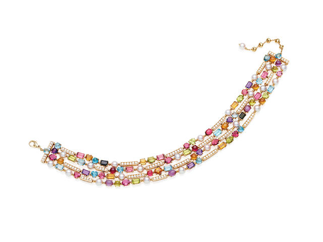 A diamond and gem-set 'Allegra' necklace, by Bulgari
