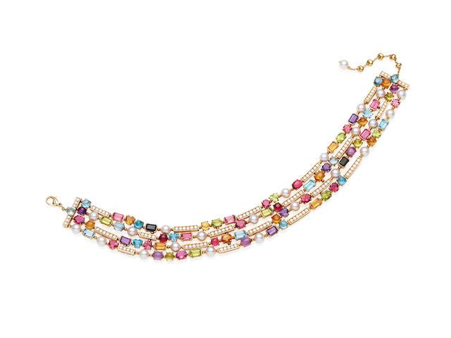 A diamond and gem-set 'Allegra' necklace, by Bulgari
