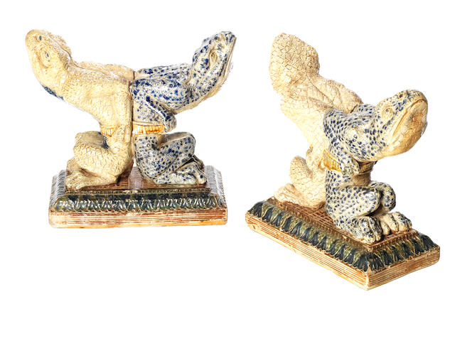 Martin Brothers An Important Unrecorded Pair of Figural Firedogs, 1876