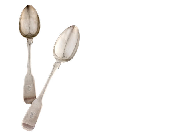 A pair of Australian silver fiddle pattern table spoons  by Alexander Dick, Sydney, circa 1839