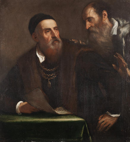 Workshop of Tiziano Vecellio, called Titian (Pieve-di-Cadore 1485-1576 Venice) Portrait of Titian and his friend Francesco Zuccato