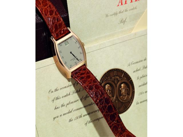 Patek Philippe. A fine and rare limited edition 18ct rose gold manual wind wristwatch with jump hour  150th Anniversaire 1839-1989, Ref:3969, Case No.2864547, Movement No.752534, Sold 1st July 1989