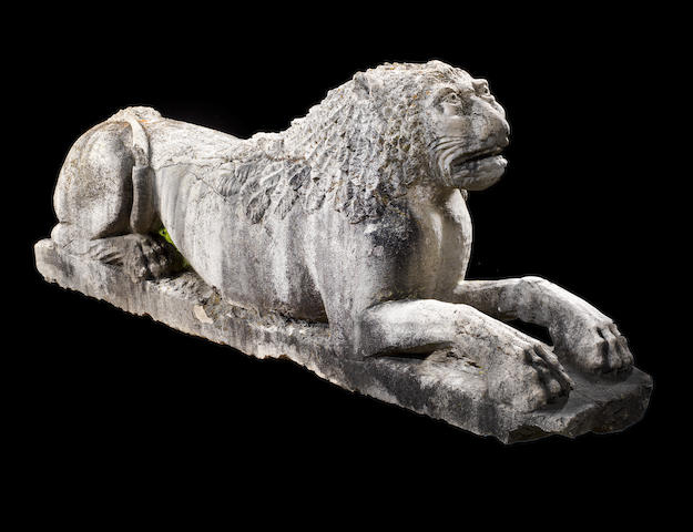 A large Italian Romanesque 13th/14th century limestone recumbent lion