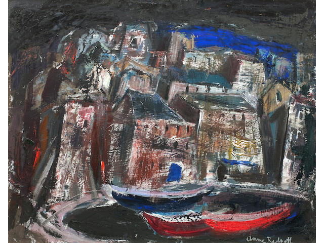 Anne Redpath, OBE RSA ARA LLD ARWS ROI RBA (British, 1895-1965) The Old Harbour, Bastia 60 x 75 cm. (23 5/8 x 29 1/2 in.)