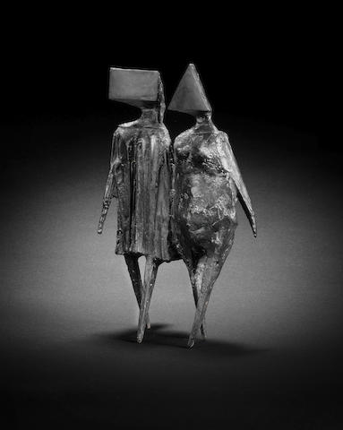 Lynn Chadwick (British, 1914-2003) Maquette VI Walking Couple 30.3 cm. (12 in.) high