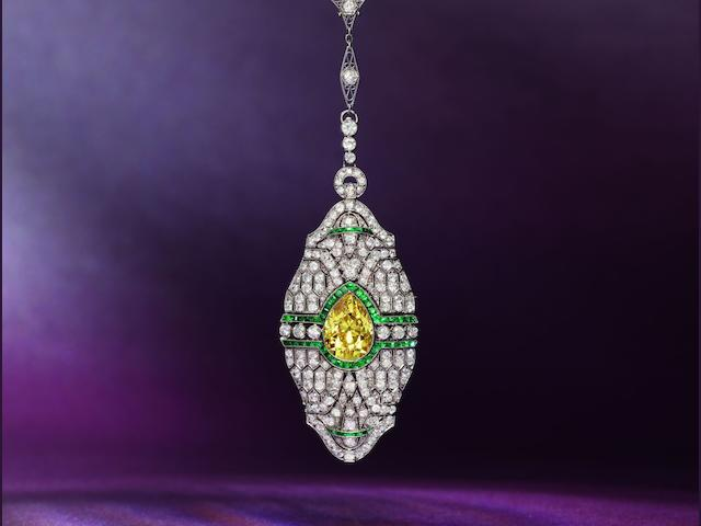 A rare early 20th century fancy coloured diamond, diamond and emerald pendant necklace,
