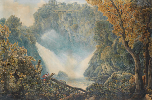 Abraham Louis Rodolphe Ducros (Yverdon 1748-1810 Lausanne) The falls of the Aniene at Tivoli