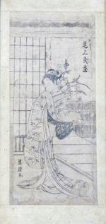 Two woodblock prints Kikukawa Eizan (1787-1867) and Kiyomasu II (1706-1763)