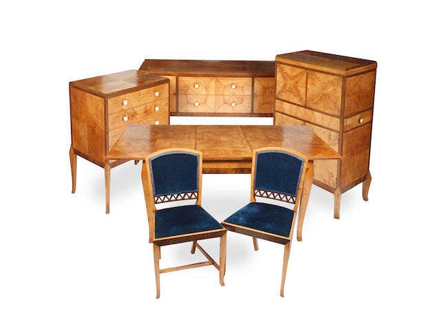 An Art Deco birchwood/sycamore veneered dining room suite