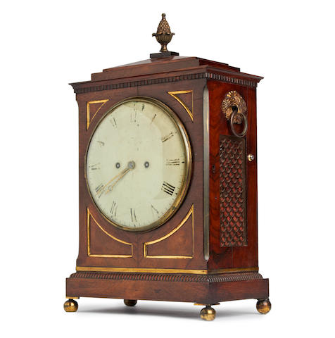 A Regency brass inlaid rosewood five pillar twin fusee bracket clock, with repeat Frodsham, Gracechurch Road, London.