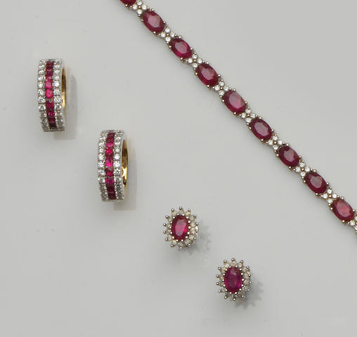 A small collection of ruby and diamond jewellery (3)