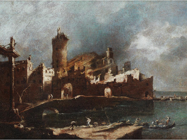 Francesco Guardi (Venice 1712-1793) A capriccio of a fire in the Venetian lagoon