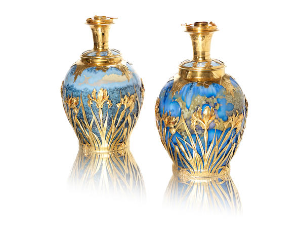 Valdemar Engelhardt (1860-1915) and Anton Michelsen for Royal Copenhagen A Pair of Impressive Lampbases with Silver Gilt Mounts, 1900